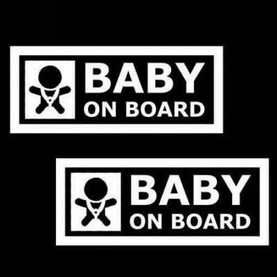 """(2) 7"""" Cute Cool Kids Baby On Board Car Window Decals Stickers Warning Signs"""