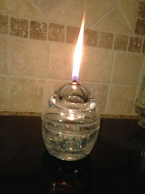 Round Crystal  Oil Candle Lamp With Wick