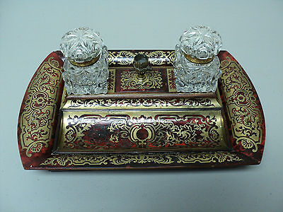 RARE 19th C. FRENCH BOULLE INK STAND with DOUBLE GLASS INK WELLS, c. MID 1800's