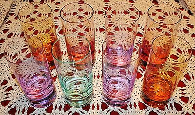 """Moser Set of 8 Multicolor 7"""" Tumblers - MINT"""