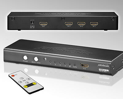 ClickTronic® HDMI Schalter 3*IN+1*Front IN>1*OUT +Fernbed. Full HD Switsch 4in1