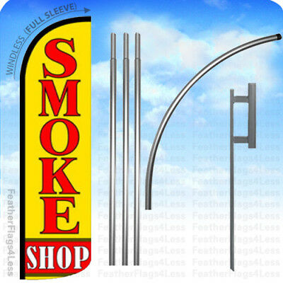 WINDLESS Swooper Feather Banner Sign Flag 15' KIT- SMOKE SHOP yq