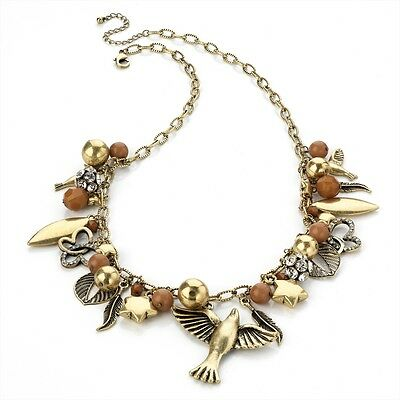 Antique Gold Look Large Charm Style Necklace Birds Stars Leafs Beads Crystals