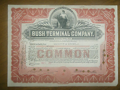 Bush Terminal Company Stock Certificate- 5 Common Stock shares (pink frame)1932