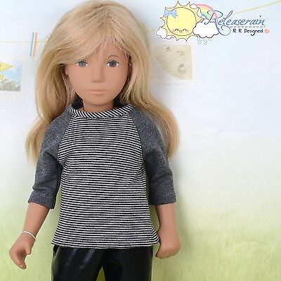 "Doll Clothes Grey/Black with Grey 3/4 Sleeve Tee T-Shirt for 16"" Sasha Dolls"