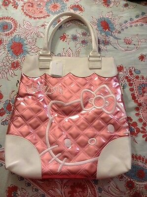 NEW Hello Kitty Sanrio Shoulder Hand Bag Purse Tote  Quilted Metallic Pink White