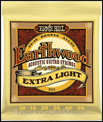 Ernie Ball 2006 Earthwood 80/20  Extra Light  Acoustic Guitar Strings 10 - 50