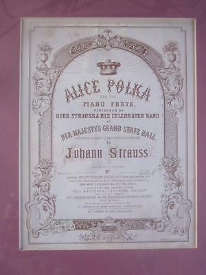 Lovely Old Antique Victorian Mounted Sheet Music Page/Cover Interior Decor & Art