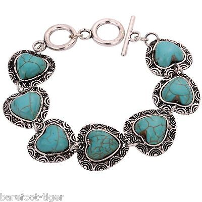 Barefoot Hippy Bracelet Turquoise and Silver Plate Hearts