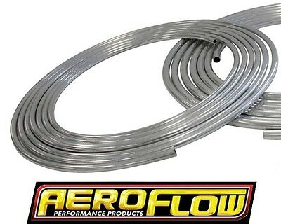 "Aeroflow 3/8"" Aluminium Hard Fuel Line 25 Foot Natural Finish Af66-3000"