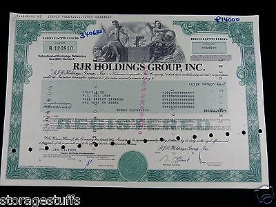 stock certificate for the RJR Holdings Group 100 dollars. Jan 3 1990