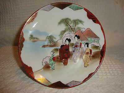 JAPANESE TEA / COFFEE SAUCERS MADE IN JAPAN HAND PAINTED GEISHAS LANDSCAPE