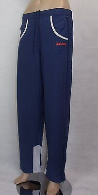 Ex Adidas Girls Pants Tracksuits Bottoms in Blue colour with Orange Logo