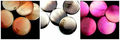 5 Pcs - Natural Dyed Flat Coin Shell Beads 30mm Jewellery Craft Beads Focal - ML