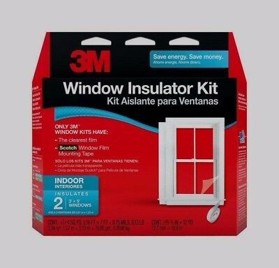 NEW 3M 2 - 3'x5' Indoor Window Insulator Kit Clear Film w/ Tape 2120W6 SAVE$$$$$