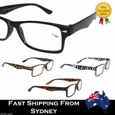 Mens Ladies Wayfarer Frame Magnifying Reading Glasses Nerd Spectacle +1.0~+3.5