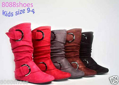 Girl's Kid's Cute Boot Zipper Buckle Flat Heel Mid Calf Slouchy Shoes Size 9 - 4