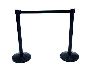 LG-21-A Black Metal Stretch Barriers with Black Webbing, Room dividers