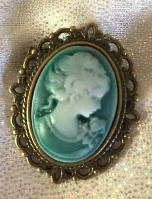 Antique Bronze Gothic Steampunk Victorian Lady Green Cameo BROOCH Pin vintage