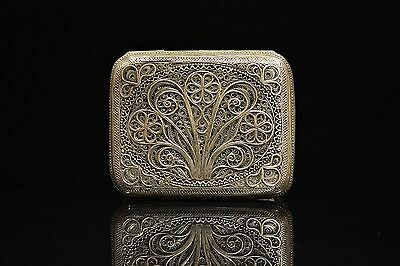 Antique Original Perfect Silver Hand Craft Filigree Cigarette Case