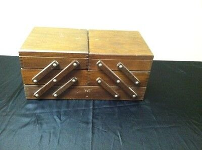 VINTAGE ACCORDION WOOD SEWING BOX BASKET-RARE DOVETAILED-Great Project!