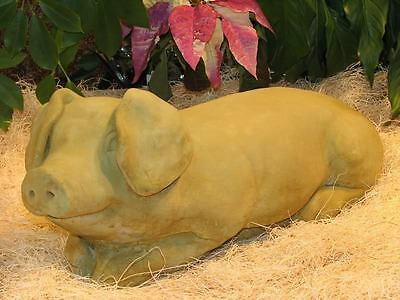 Cast Stone Cement Reclining Pig Outdoor Garden Statue
