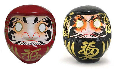 "Set of 2 PCS. Japanese 5.5""H Red Black Daruma Doll for Rich Health Made in Japan"
