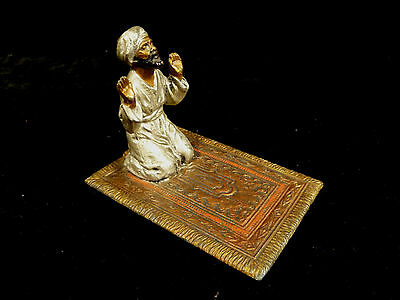 Vienna Bronze Austria Orientalist Man Praying On Carpet – Circa 1900