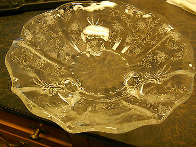"Vintage Fostoria Glass 7"" 3 footed bowl Chintz Pattern"
