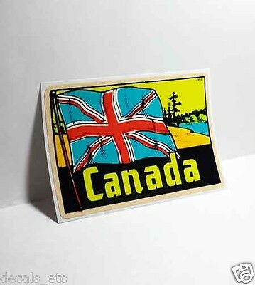 Canada Flag Vintage Style Travel Decal, Vinyl Sticker, luggage label
