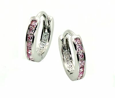 Pink Sapphire 10mm Baby Earring Huggies .925 Sterling Silver High End Quality