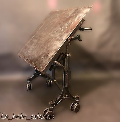 ANTIQUE INDUSTRIAL HAMILTON STEEL LITHOGRAPHER TABLE/TRUCK. THE BEST!!