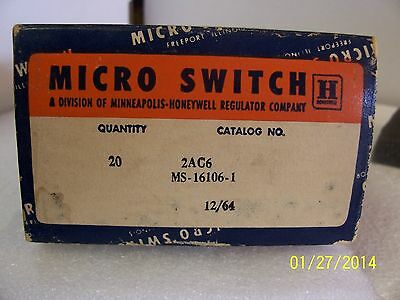 1 Each 2AC6 Microswitch MS16106-1 Honeywell Mil spec Switch