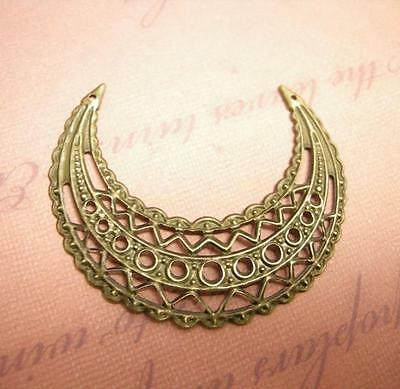 10pc antique bronze filigree moon wrap-8213