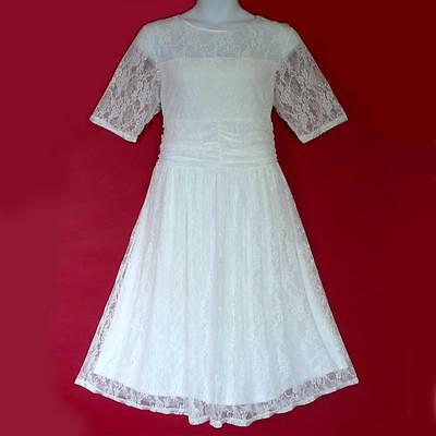 D13 - 1X 2X 3X Sheer Lace Ruched Waist Casual Wedding Tea Dress White Ivory