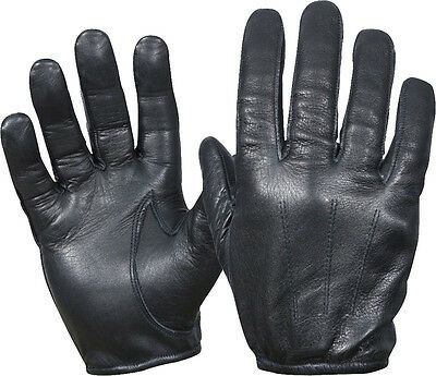 Black Tactical Police Cut Resistant Leather Gloves
