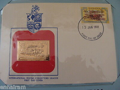 Barbados FDC w/ 23 kt gold replica stamp 1981 Animal Drawn Tram