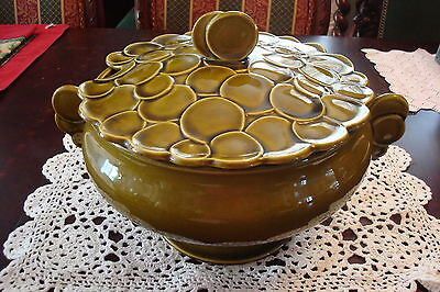 MUNCIE Clay Green Large Vegetable Bowl, marked 1A7, c1920s