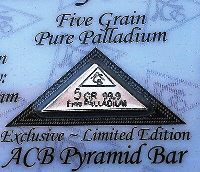 Certificate ACB Pyramid Palladium 5GRAIN BULLION MINTED BAR 99.9 Pure Pd RARE +