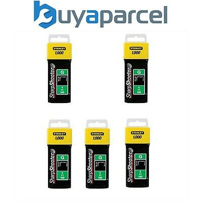 Stanley 1-TRA708T 5000 5x1000 Pack Heavy Duty Staples 12mm Sharpshooter Type G