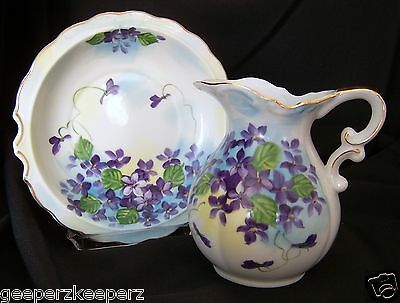 Vintage Norcrest Handpainted VIOLETS Porcelain Mini Pitcher & Basin Japan Labels