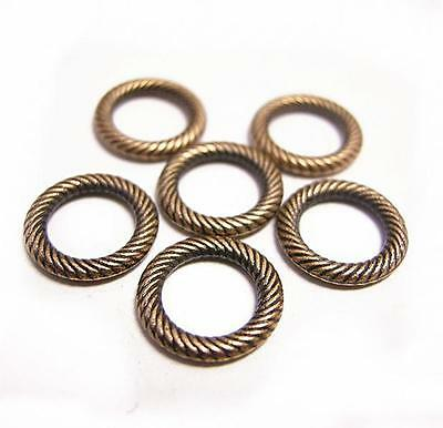 12pc antique copper finish 12mm patterned ring/connectors-8267