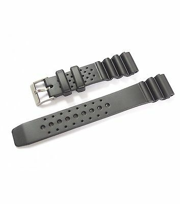Black Rubber Resin Strap For Digital Casio & Divers Watches - 18mm,20mm,22mm