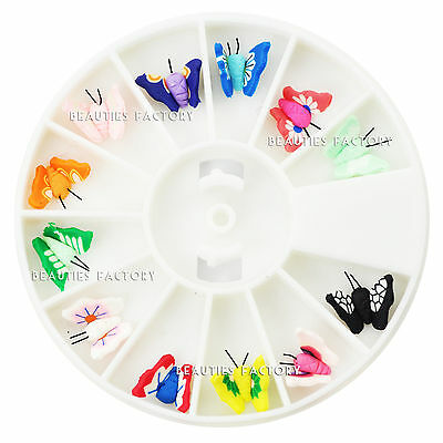 12 PCS 3D Polymer Clay Fimo Butterfly Slice Wheel Nail Art Decoration #240