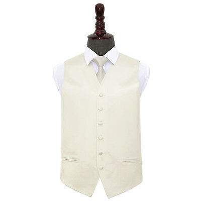 DQT Satin Plain Solid Ivory Mens Wedding Waistcoat & Tie Set S-5XL