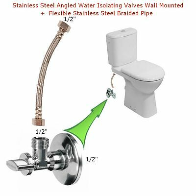 Stainless Steel Angled Water Isolating Valves Wall Mounted