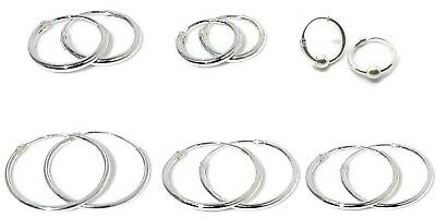Solid 925 Sterling Silver Hoops Sleepers Earrings | 6mm - 48mm | Small-Large