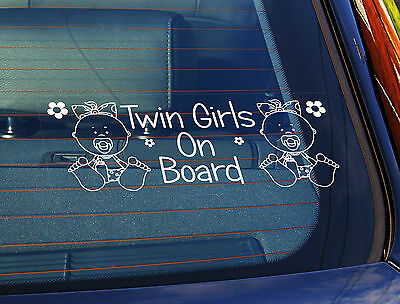 Static Cling Window Car Sign/Decal Twin Girls On Board Babies 100mm x 250mm 24