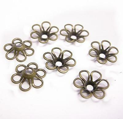 30pc 11mm antique bronze finish lead nickel free brass made beads caps-8295