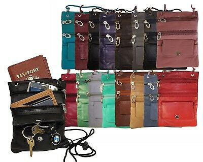 Genuine Leather Passport ID Documents Holder Neck Travel Pouch Bag